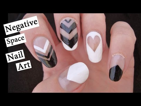 Negative Space Black & White Nail Art