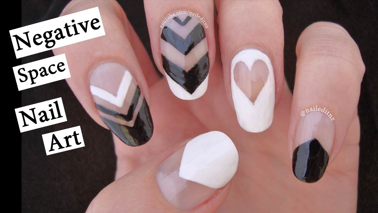Negative Space Nail Art | Black & White with Nailed It NZ - YouTube