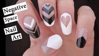 Negative Space Nail Art | Black & White