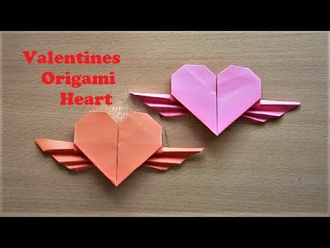 Making Origami Valentines Flying Paper Heart With Wings Heart