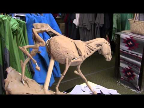 Sculptor David Lemon -  Working on the Horse - I Fail on a Ladder