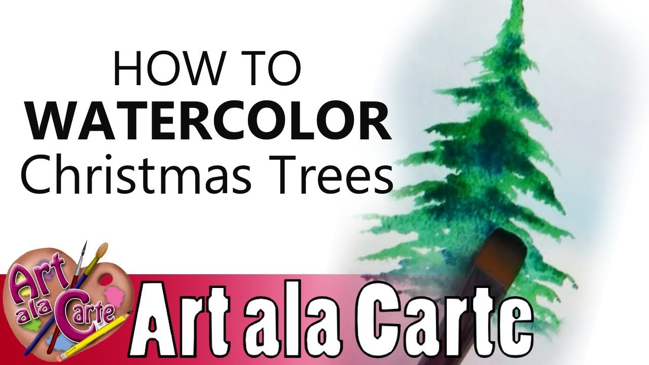 Watercolor Christmas Tree Tutorial Youtube