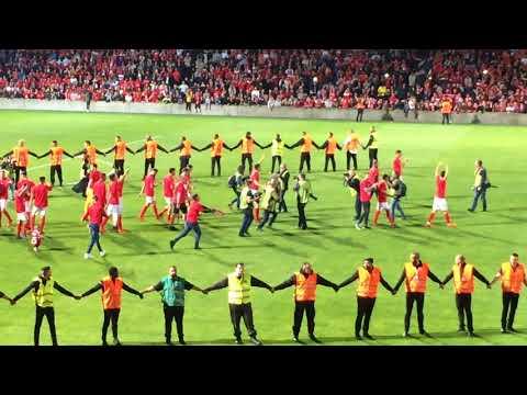 Football: Nîmes monte en ligue 1. La fête des joueurs après le match