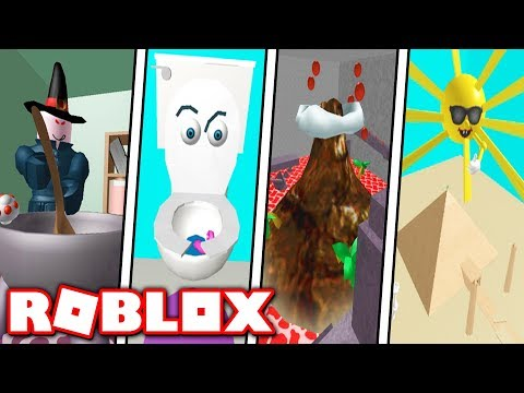 escape the witch school guitar toilet cereal candy car volcano food temple obby in roblox