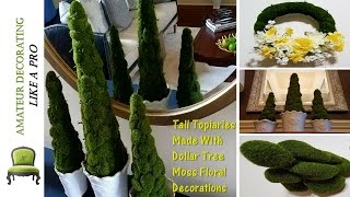 DIY Moss Tree Topiaries With Dollar Tree Floral Decorations