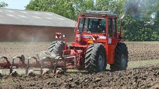 Massey Ferguson 4840 Ploughing in Very Hard Soil w/ 9-Furrow P…