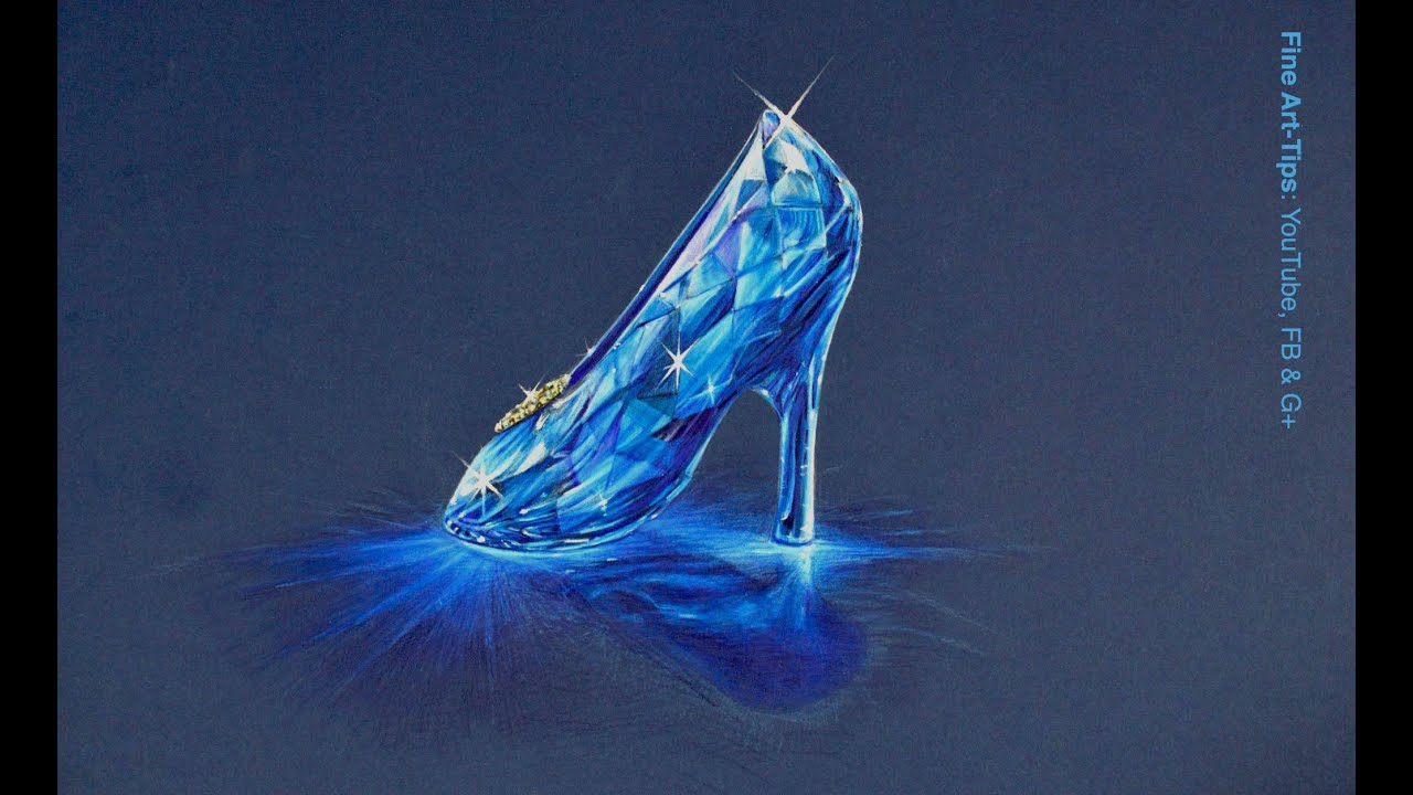 How to Draw the Cinderella Crystal Slipper - YouTube