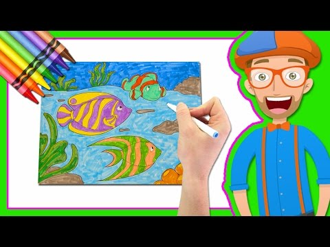 Learn Colors by Drawing with Blippi | Coloring Book