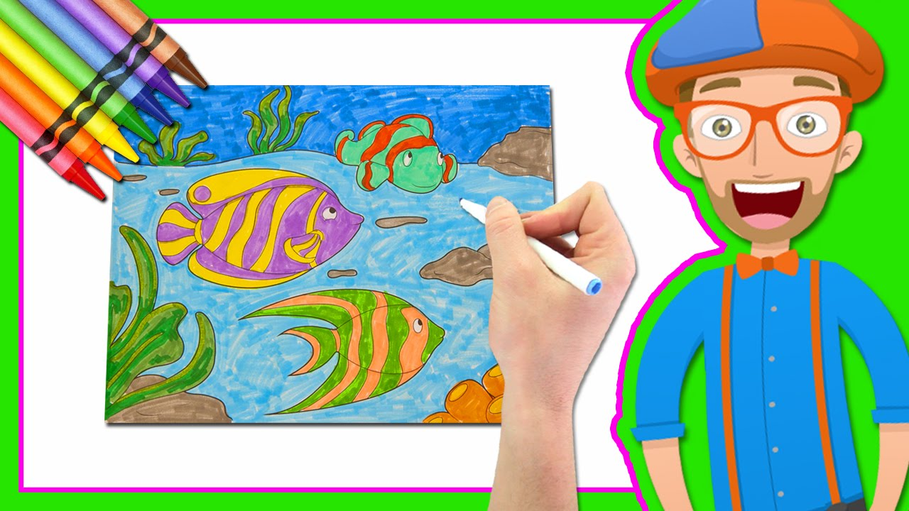 blippi coloring pages Learn Colors by Drawing with Blippi | Coloring Book   YouTube blippi coloring pages