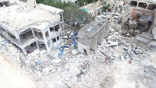 Drone footage of damage left behind by truck bomb in Mogadishu