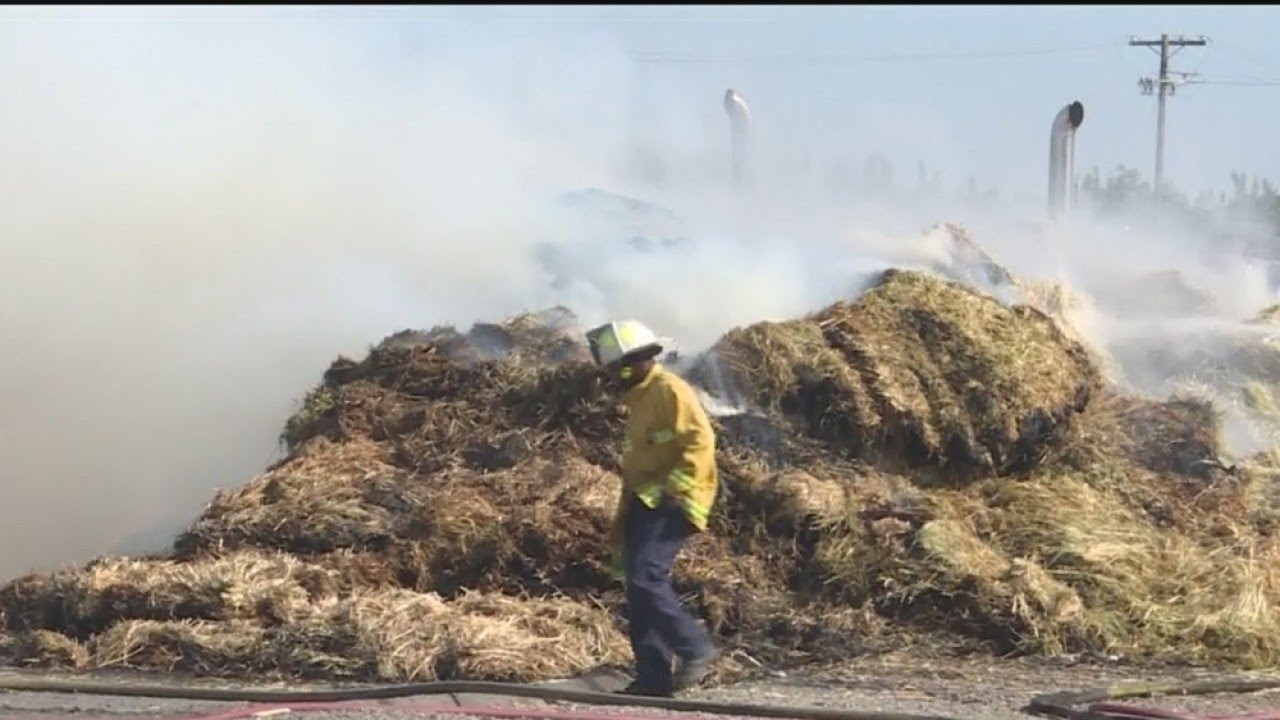 Hay Truck Fire Stops Traffic On Highway 99