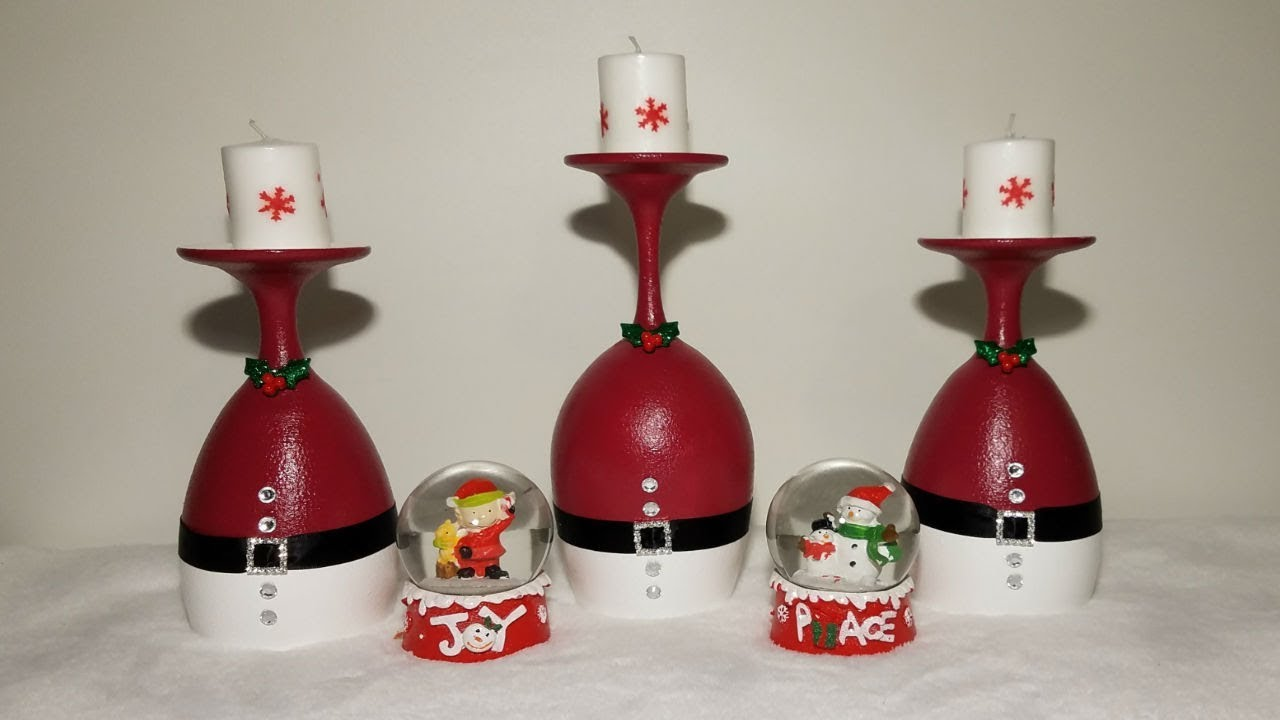 diy wine glass candle holders christmas centerpiece - Christmas Candle Holders Decorations
