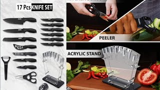 किचन के हर काम को करे आसान New 17 Pcs Kitchen Knives Set|Full Review|Agaro 17 Pcs Knives Set Review