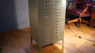 Vintage Retro 30 Drawer Metal Filing Cabinet Grey With Polished Top A4