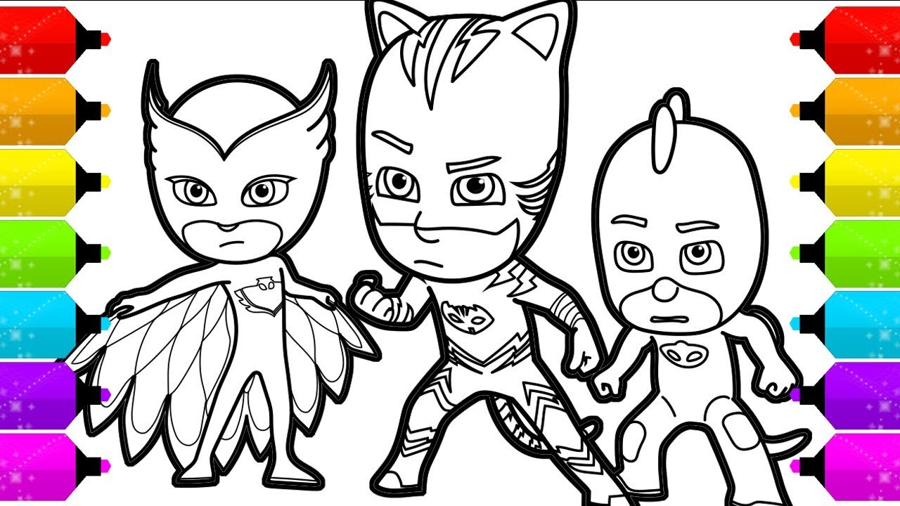 pj masks coloring pages  how to draw catboy gekko and
