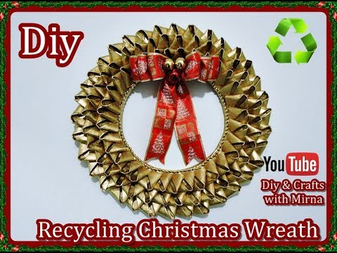 Diy. Christmas wreath with roll paper tubes Diy & Crafts with Mirna