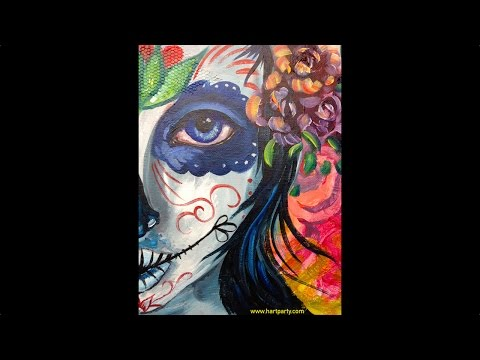 Sugar Skull Beauty BEGINNER HOW TO PAINT acrylic painting | Ayala Art + Art Sherpa