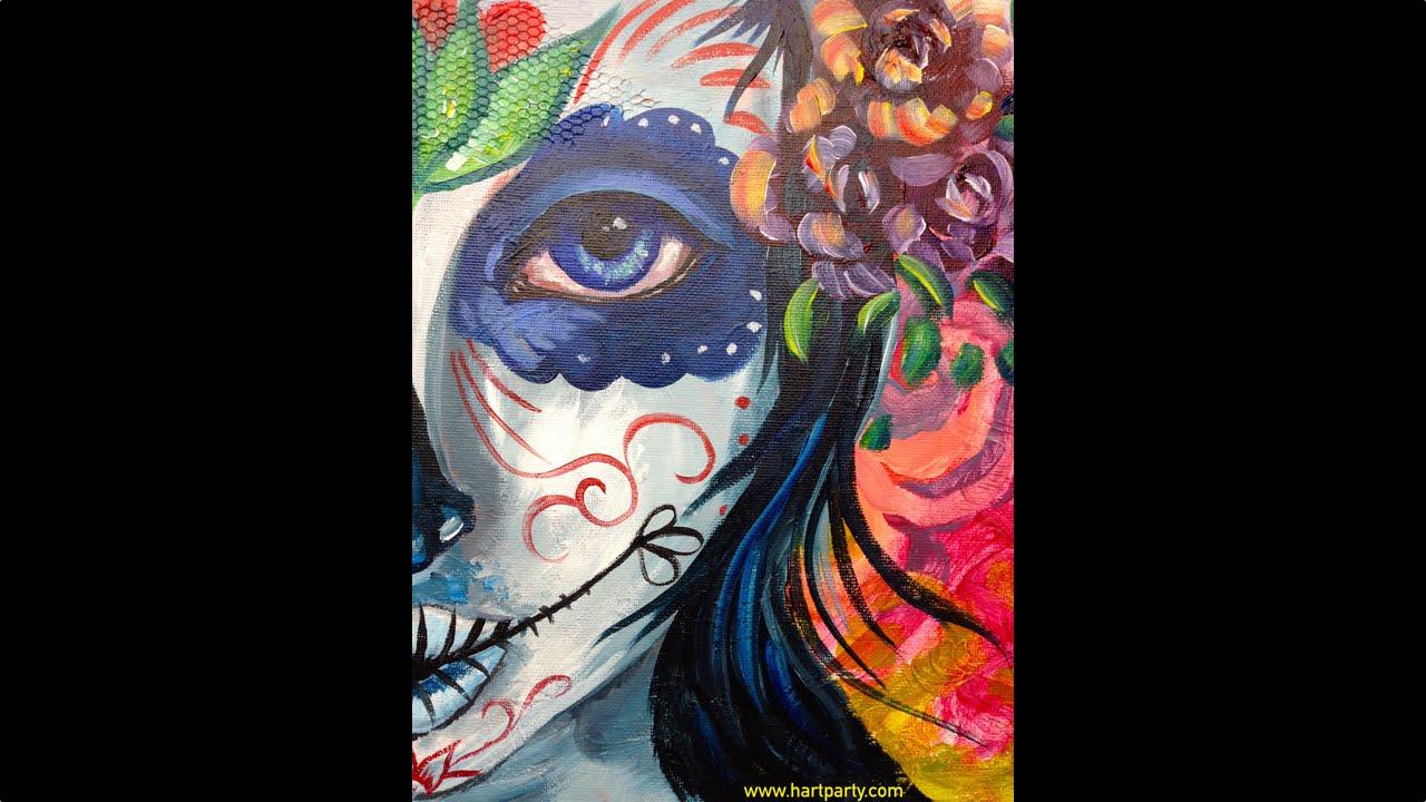 Easy Beginner Skull: Sugar Skull Beauty BEGINNER HOW TO PAINT Acrylic Painting