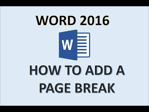 Word 2016 - Insert a Page Break - How to Use Manual Breaks in MS Pages - Add & Insert Blank Document