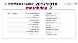 epl schedule, english premier league fixtures 2017- 2018,