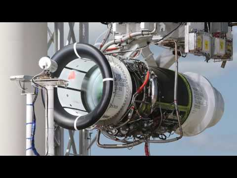Engine installation on Bombardier's first Global 7000 flight test vehicle.