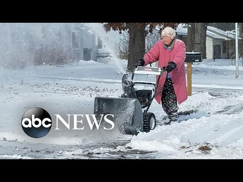 Delana's Dish - Who says I'm old?  this lady knows how to handle a snowblower!