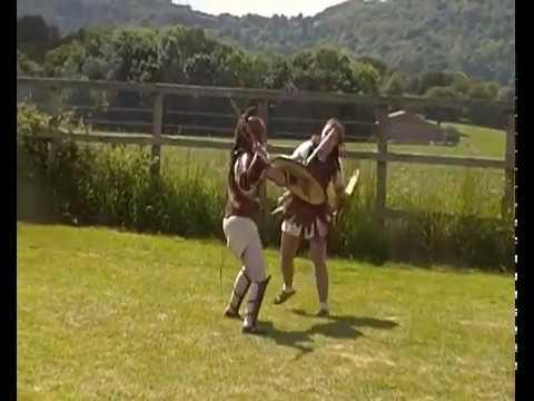 Corvia versus Achillia Gladiatrix combat (Bignor Villa June 2017)