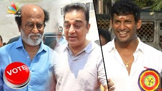 Rajinikanth, Kamal Hassan casts vote at Producers Council Elections 2017 | Vishal