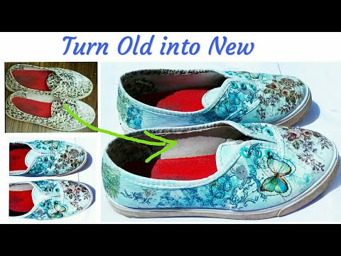 How to Change Old shoes into New | DIY craft | Canvas Shoes decoration