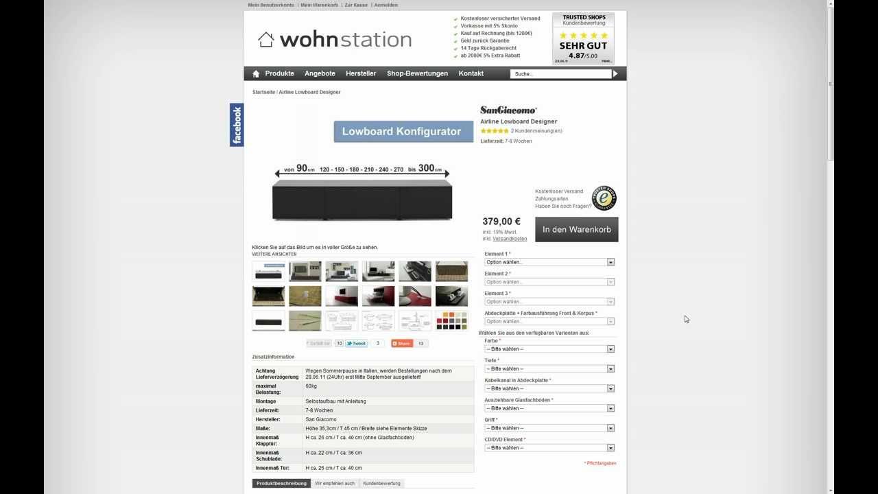 video tutorial wohnstation lowboard konfigurator youtube. Black Bedroom Furniture Sets. Home Design Ideas