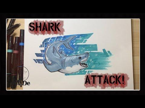 watch-me-draw!-|-great-white-|-pencil-pen-prismacolor-|-shark-week-|-evayde