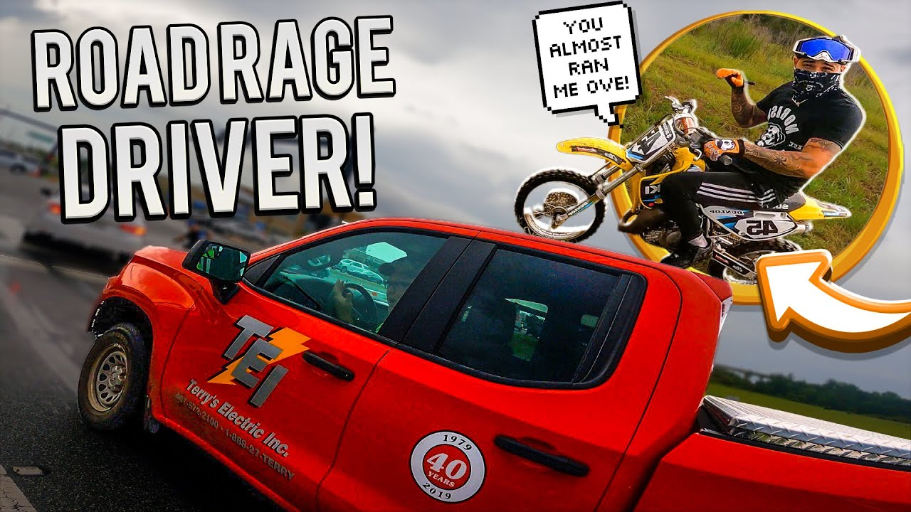 ANGRY DRIVER ALOMST RUNS ME OFF THE ROAD WHILE RIDING MY DIRTBIKE !   BRAAP VLOGS