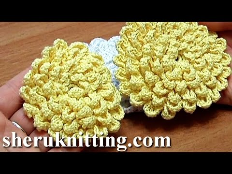 crochet fluffy flower tutorial 9 gro e blume h keln youtube. Black Bedroom Furniture Sets. Home Design Ideas
