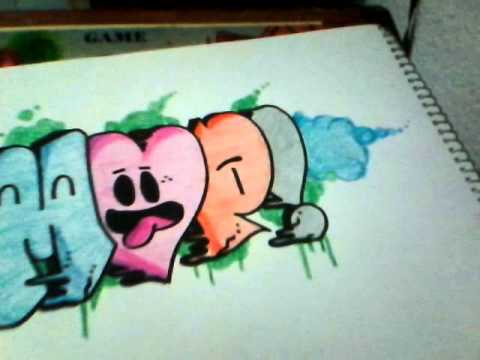 Como hacer graffiti de amor draw graffitti love  YouTube