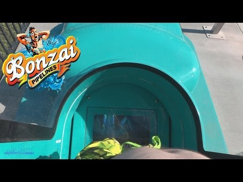 Bonzai Pipeline Body Slides (HD POVS) Hurricane Harbor Water Park Six Flags Magic Mountain