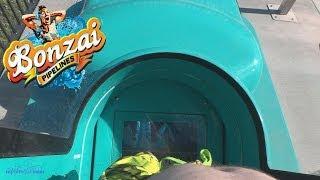 Bonzai Pipline Body Slides (HD POVS) Hurricane Harbor Water Park Six Flags Magic Mountain