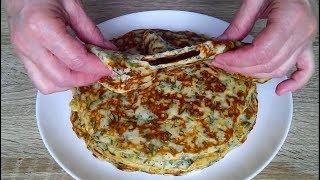 Вкусные домашние блинчики с сыром и зеленью. Быстрый и сытный завтрак!