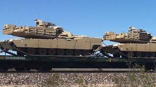 Tanks on Train Mojave Desert Military