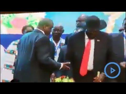 Failed Handshake: Did Salva Kiir decline to shake Dr. Riek Machar's hand?