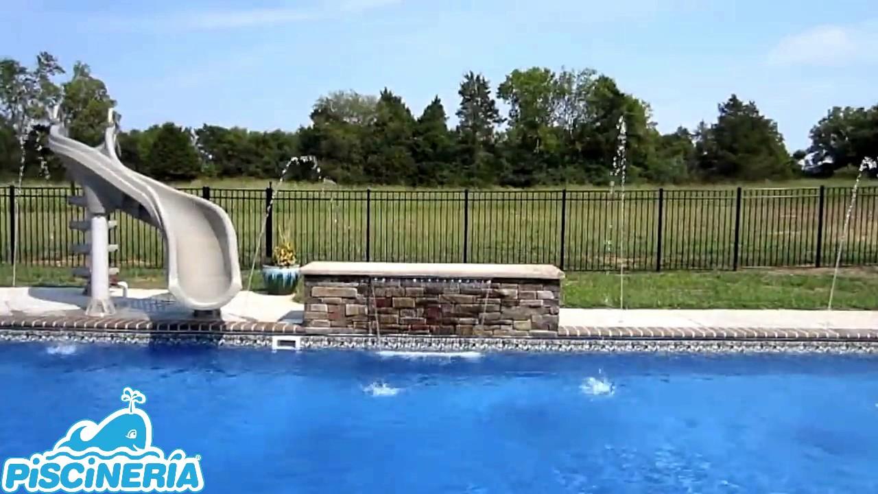 Cascadas y chorros para piscinas piscineria youtube for Chorros para piscinas