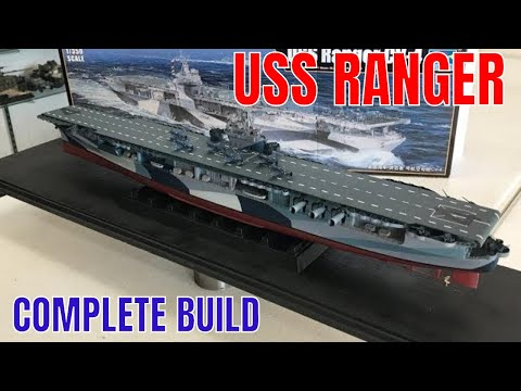 Building The Trumpeter 1/350 USS Ranger CV4 aircraft carrier with US Navy dazzle camouflage