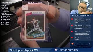 01-15-2019 1980 Topps Baseball Wax Pack 119 Break Opening Video