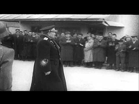 Marshal of Yugoslavia addresses the crowd of 50,000 in a ceremony. HD Stock Footage