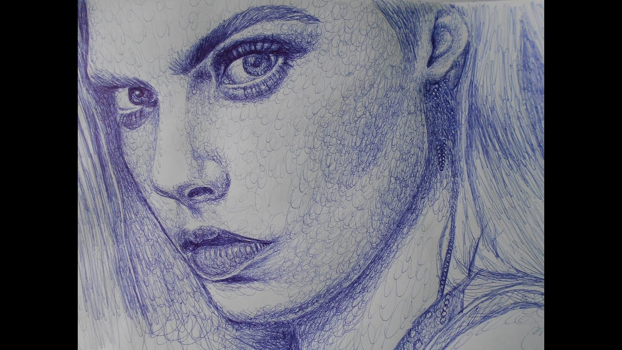 Drawing Scribble Technique : How to draw cara delevingne with ballpoint pen scribbling