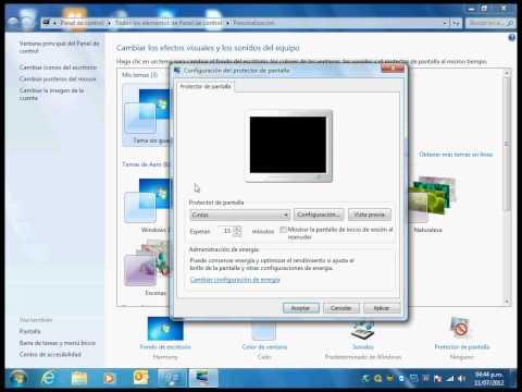 Configurar Protector De Pantalla En Windows 7