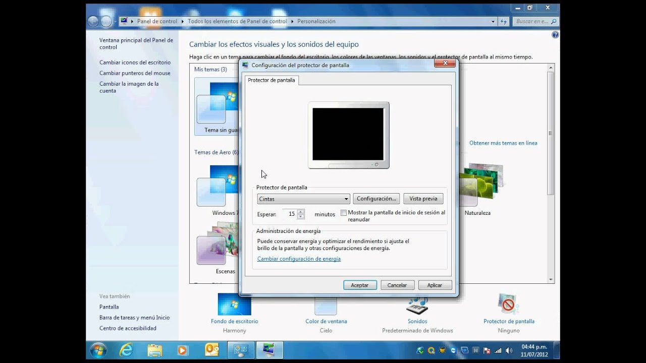 configurar protector de pantalla en windows 7 youtube