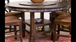 sunny designs santa fe round table with lazy susan 60 inch