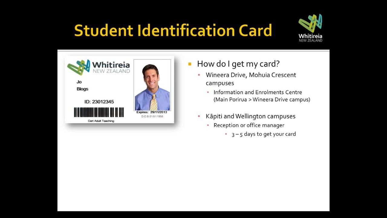Your Whitireia NZ Student Identification Card - student identification card