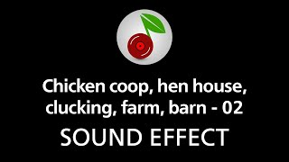Chicken coop, hen house, clucking, farm, barn - 02, sound effect