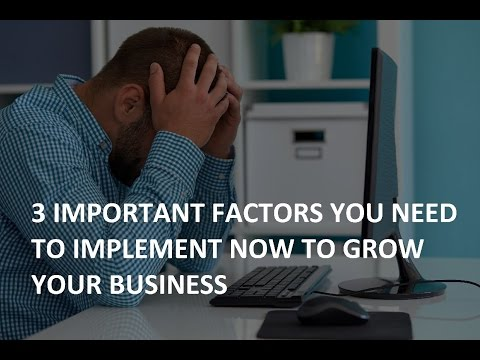 3 IMPORTANT FACTORS YOU NEED TO IMPLEMENT NOW TO GROW YOUR BUSINESS